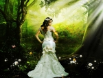 Bride in Green Forest