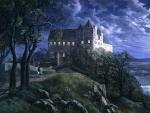 Scharfenberg Castle at Moonlight