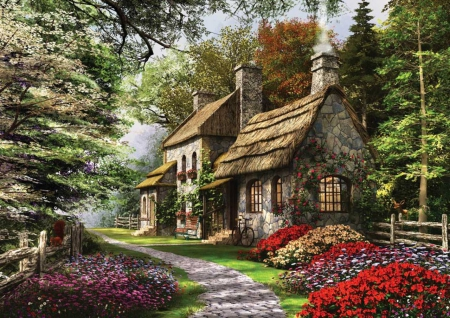 Spring Cottage - lovely, bloom, cottage, beautiful, spring, trees, cycle, flowers, path, garden, lawn, wooden fence