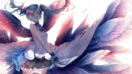 Bathed in Heavenly Light - vocaloid, wings, hatsune miku, anime, winged