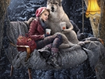 Wolf drinking coffee with Little Red Riding Hood