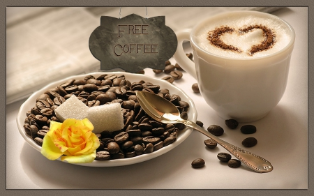 Free coffee - cafe, coffee, rose, sugar, beans, cappuccino, cup, sign
