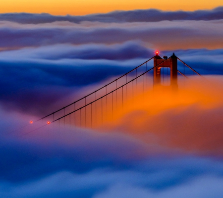 Sunrise in the Fog - sunrise, bridge, light, fog