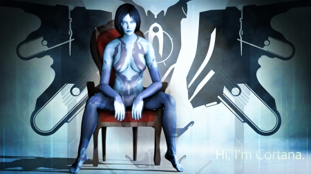 Cortana Halo 5 Guardians Xbox One - Cortana, sexy, halo, 5, logo, girl, sci fi, sitting, chair, guardians, blue
