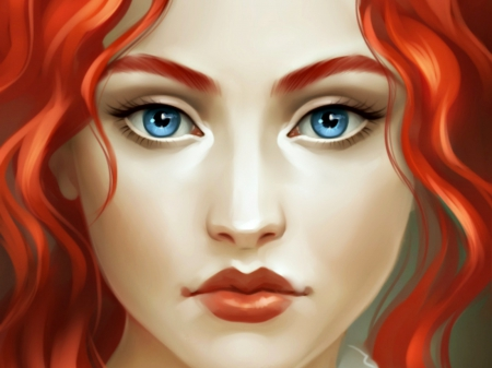 Redhead - art, redhead, woman, fantasy, girl, beauty, face, blue eyes, sharandula
