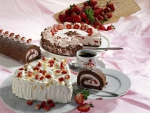 Strawberry Gateaux and Chocolate Roll