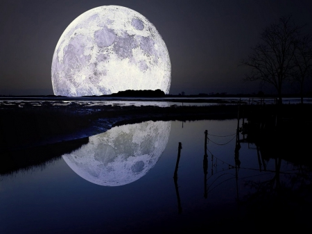 Lunar reflection - moon, water, night, reflection