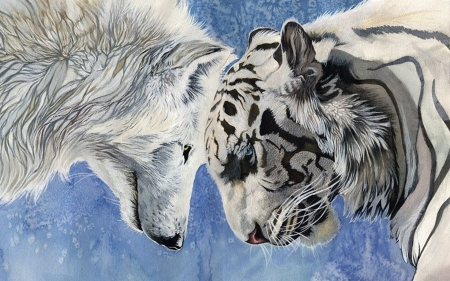 WOLF AND TIGER ART - Tiger, art, painting, nature, Wolf, animals, Wolves