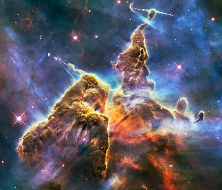 Eta Carina(Eagle nebula) - stars, dust, detail, gas