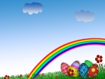 Easter Eggs and Rainbow