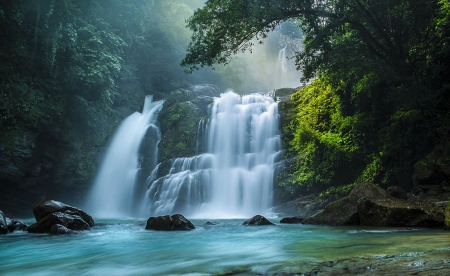 Waterfall - waterfall, forest, treees, water