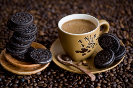 *Coffee and Cookies* - cookies, grain, coffee, chocolate, cup