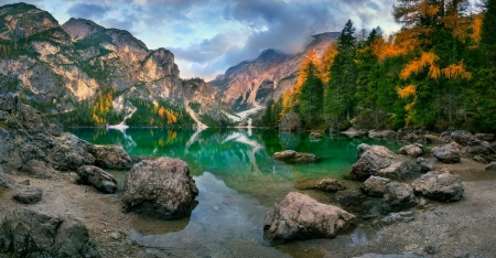 Autumn Lake - Alps, forest, fall, lakes, lovely, Italy, beautiful, trees, clouds, stones, cliffs, mountains, green water, reflection, lakeshore, Braies