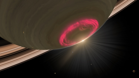 Aurora on Saturn - sun, aurora, space, solarsystem, sunrays, planet, ring, pink, saturn