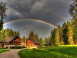 Rainbow over Austrian Landscape
