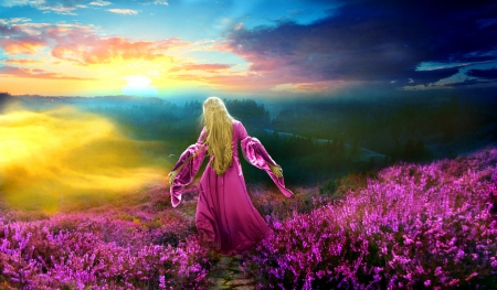 A Glorious Purple Day.. - mountain, purple, girl, surise, flowers, day