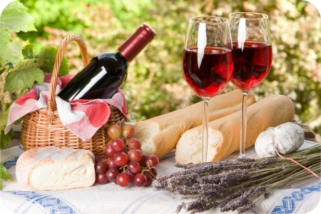 *Romantic Picnic food* - romantic, wine, cheese, bread, picnic