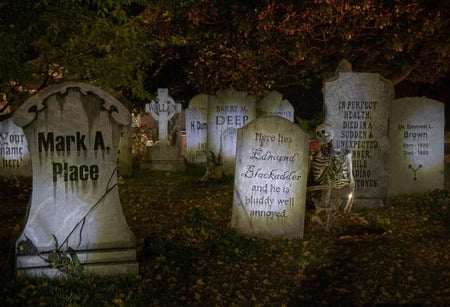 Halloween Graveyard - autumn, halloween, candle, trees, Fall, graveyard, tombstones, skeleton, leaves