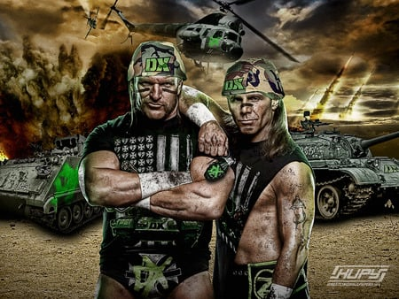 DX Army - hbk, shawn michaels, hhh, black, army, wwe, green, dx, neon, triple h, wwefina14, 2 words