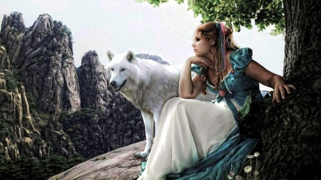 Friends - For Melissa - predator, girl, mountains, wolf, artwork, landscape