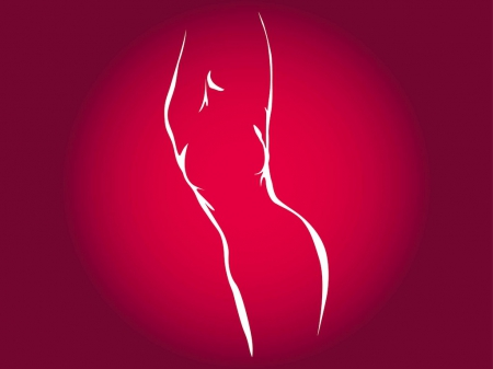 Lady Silhouette - red, female, lady, silhouette