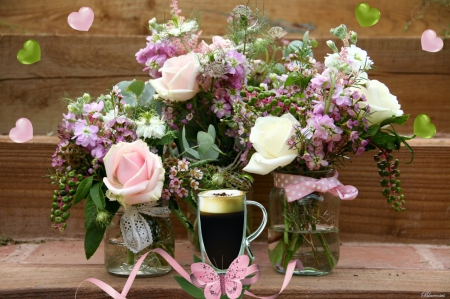 ♡Happy Day♡ - cafe, clear, background, cappuccino, three, hearts, butterfly, green, coffee, flower arrangements, flowers, pink, wooden, jars