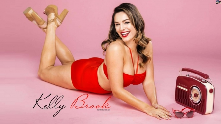 kelly brook - beauty, red, short, lying
