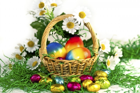 Easter Basket - candy, grass, chocolate, daisies, Easter, basket, eggs, flowers, Spring
