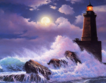 Lighthouse Waves - moons, rocks, oceans, colors, love four seasons, beautiful, waves, sky, clouds, lighthouse, sea, paintings, nature