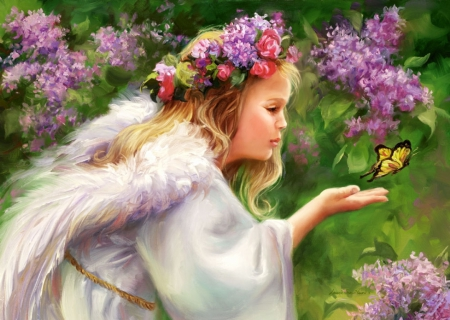 Little Angel - wings, butterfly, girl, painting, flowers, garden, spring, artwork