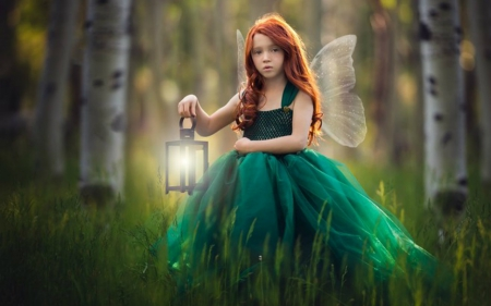 Cute Fairy - lamp, green, girl, fairy