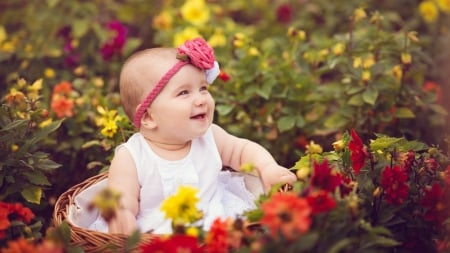 A small girl - headband, flowers, A small girl, basket