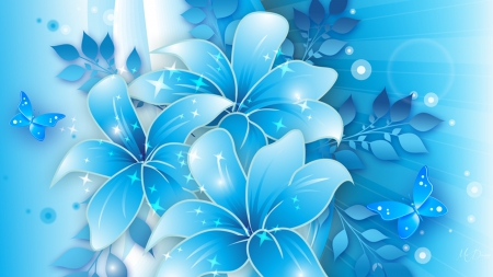 Blue Spring Morning - Easter, glow, flowers, lilies, spring, blue, light