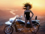 Motorcycle Model at Sunset