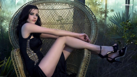eva green - beauty, black, hot, short
