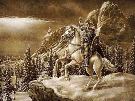 The wizard - north, forest, lovely, beautiful, man, horse, saga, valley, mountain, fantasy, color, viking, history