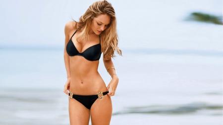 Sexy blonde black bikini