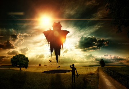 Gravity - art, sun, manipulation, sunset, kid, boy, digital, surreal, field