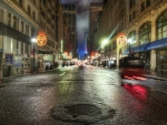 47th St in NYC on a rainy night hdr