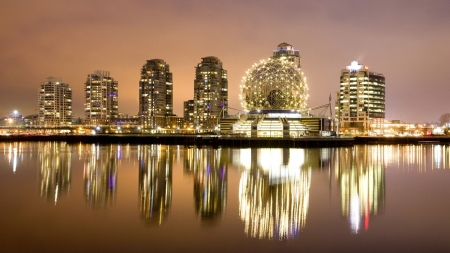 world of science in Vancouver - modern, museum, city, water, reflections, lights, night