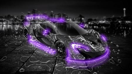 Mclaren P1 Water Car In Violet Neon Mclaren Cars Background