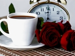coffee time & red roses
