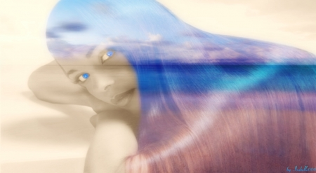 Daydreaming ~ - Sky, Shine, Beautiful, Beach, Face, Fantasy, Eyes, Sea, Photo manipulation, Beauty, daydreaming, Clouds, Girl, Blue, Stare