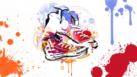 Tenny Runners - tennis shoes, paint, splatter, splash, basketball, color, canvas, Converse, shoes, watercolor, vintage