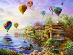 Air Balloons Over Lake