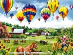 Balloons Over Pasture