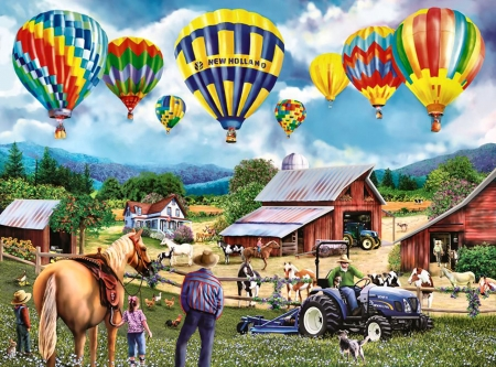 Balloon Venture 1 - art, flight, equine, horse, artwork, farm, balloons, painting, wide screen, scenery, aviation, landscape