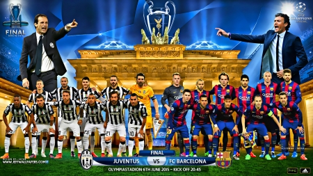 JUVENTUS - FC BARCELONA CHAMPIONS LEAGUE FINAL 2015 - messi, champions league wallpaper, FC BARCELONA wallpaper, neymar, lionel messi, neymar wallpaper, JUVENTUS wallpaper, champions league final, berlin wallpaper, champions league, tevez, pirlo