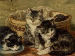 Four painting kittens
