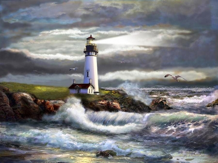 Lighthouse - colorful, lovely, beautiful, storm, lighthouse, beach, splendor, color, fields